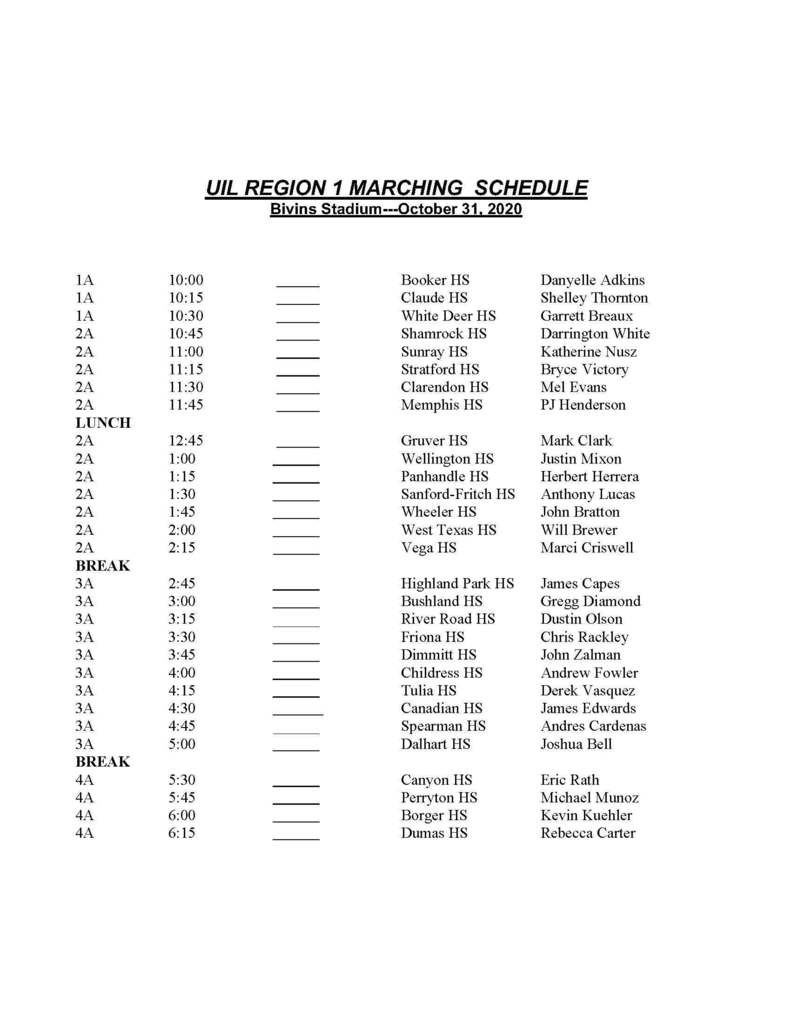 Marching Contest Schedule
