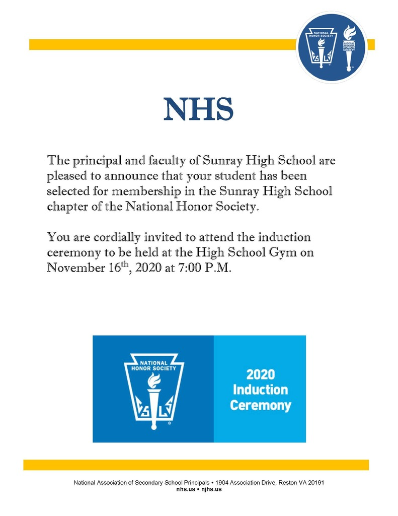 Invitation for NHS Induction ceremony