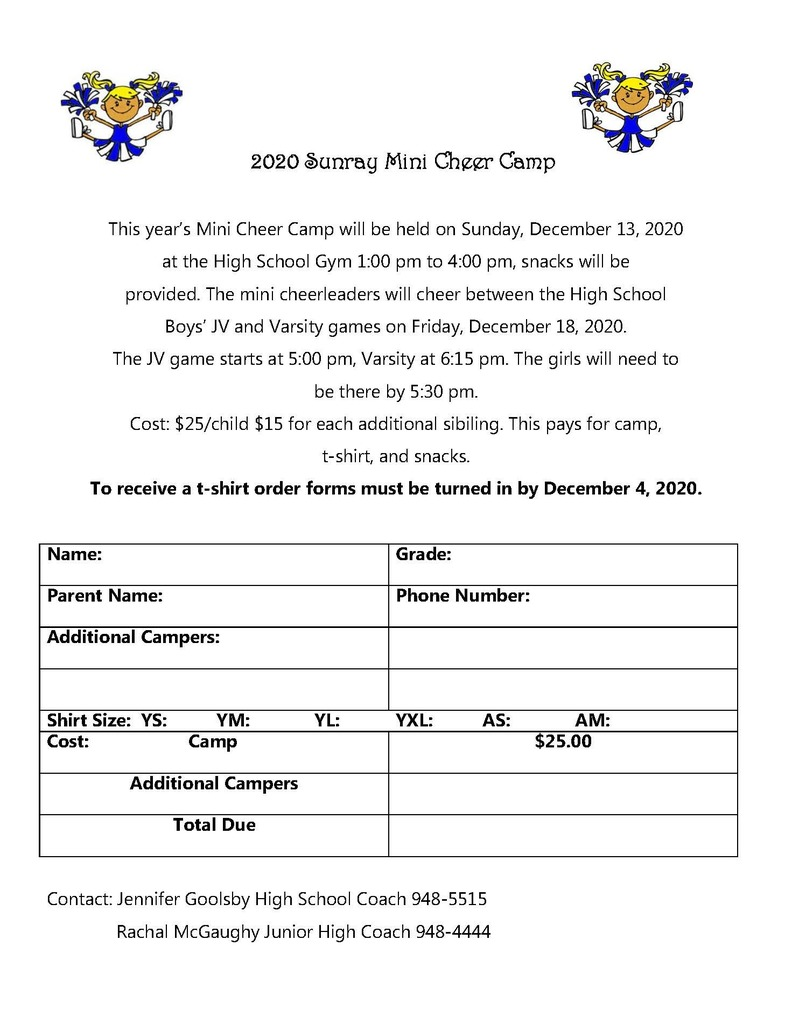 Mini Cheer Camp forms