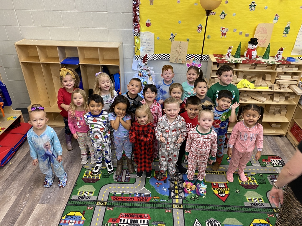 Ms. Tammy's 3 year olds dressed in pajamas.