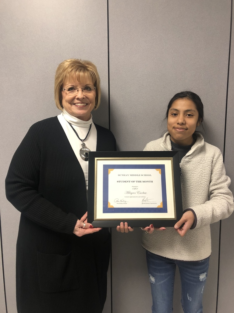 February Middle school Student of the month