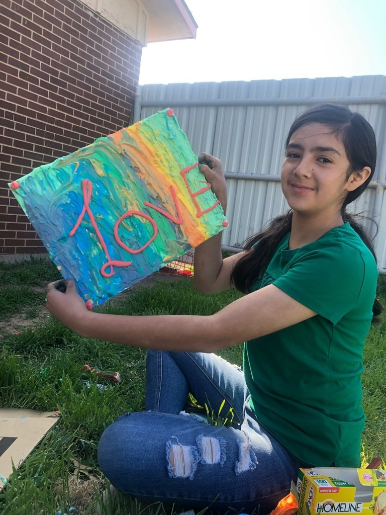 student using foam paint her aunt made