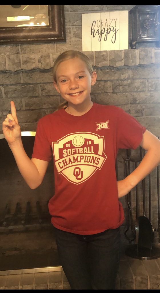 Student wearing her favorite college shirt