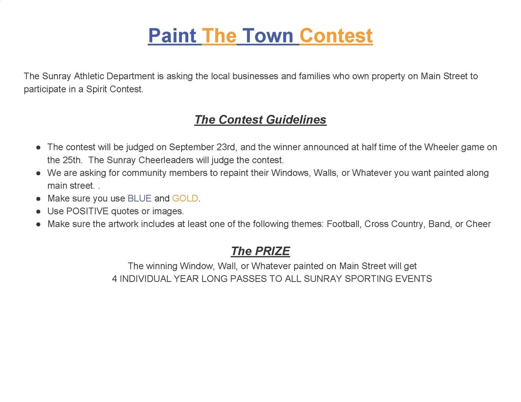 Paint the Town contest information